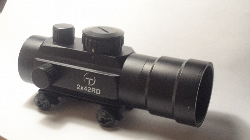 коллиматор Target Optic 2х42 закрытого типа на Weaver, подсветка точка  50 шт./кор. quarta-hunt.ru