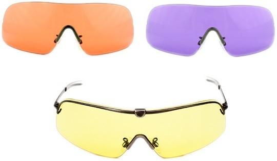 Комплект очков FALCON RANGER, оправа с прямыми дужками 140 мм, 3 линзы 64 мм – желтые, фиолетовые, H quarta-hunt