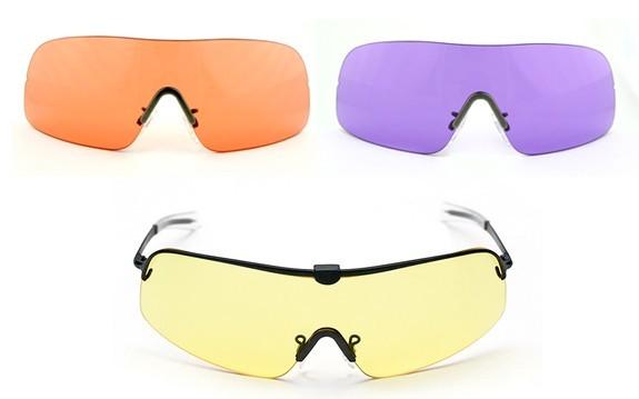 Комплект очков FALCON RANGER, оправа с прямыми дужками 150 мм, 3 линзы 72 мм – желтые, фиолетовые, H quarta-hunt